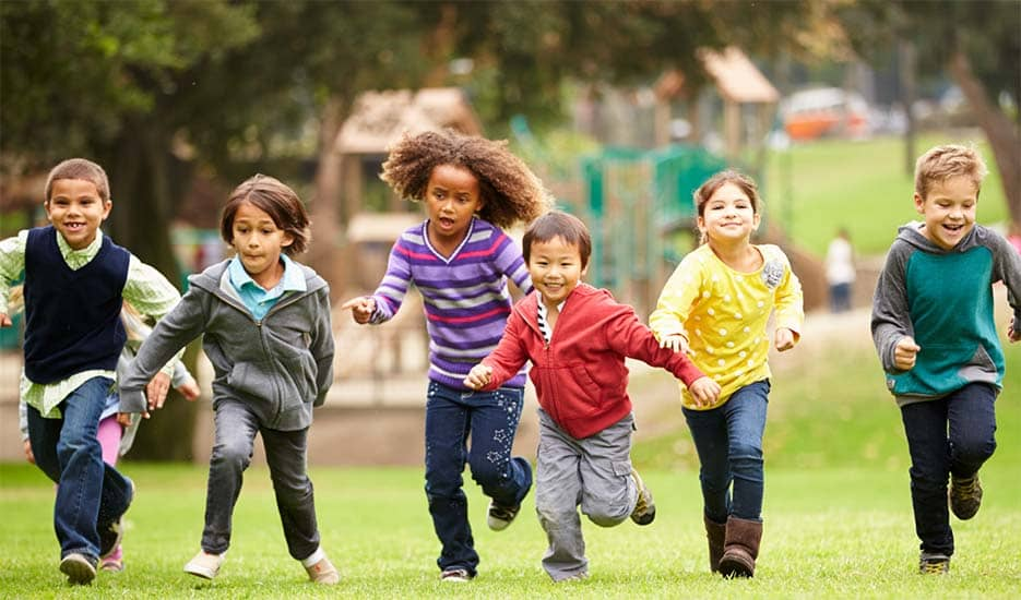 group-of-kids-play-time-garden-happy-playful-running-go-green-park