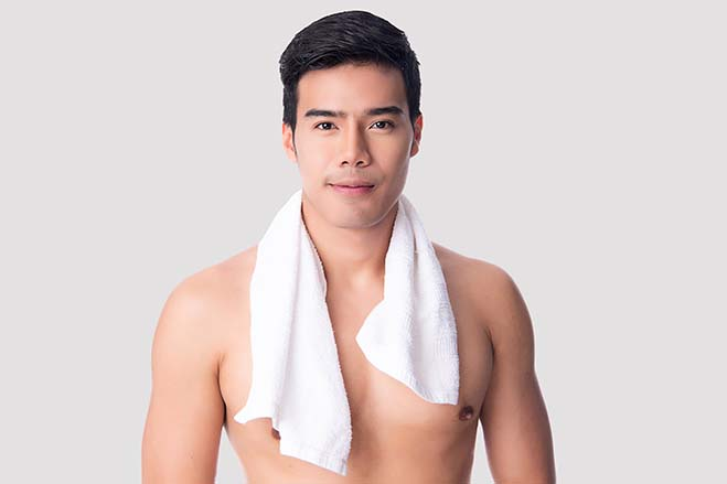 improve-bite-handsome-man-bath-sexy-naked-skincare-oral-health-smile